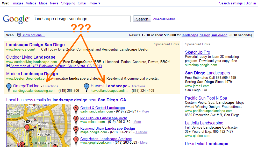 Google: landscape design san diego