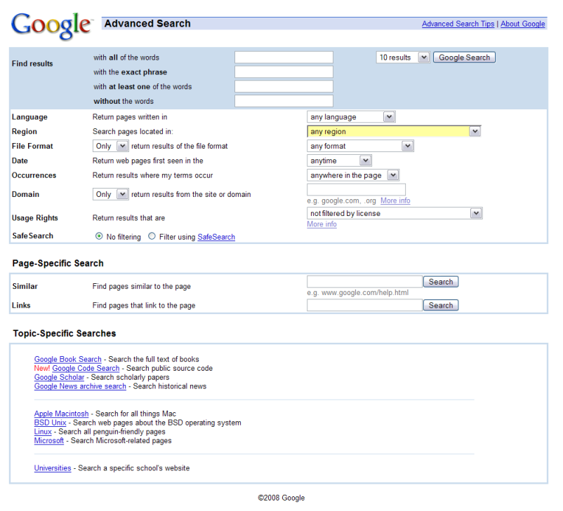 Old Google Advanced Search page