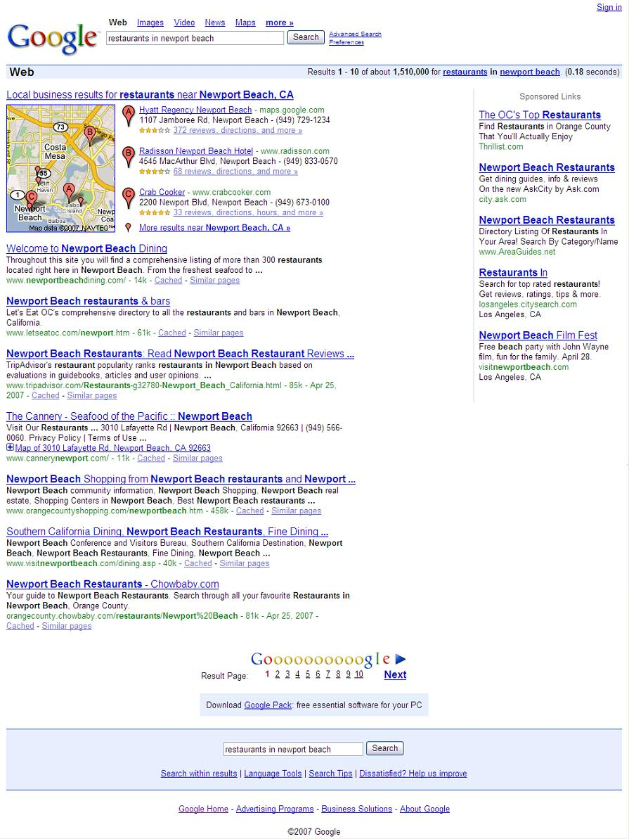 Google: restaurants in newport beach