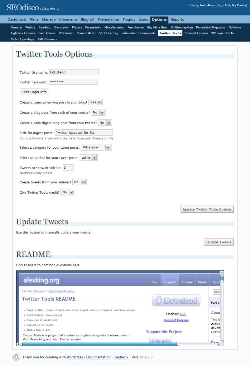 Twitter Tools Options