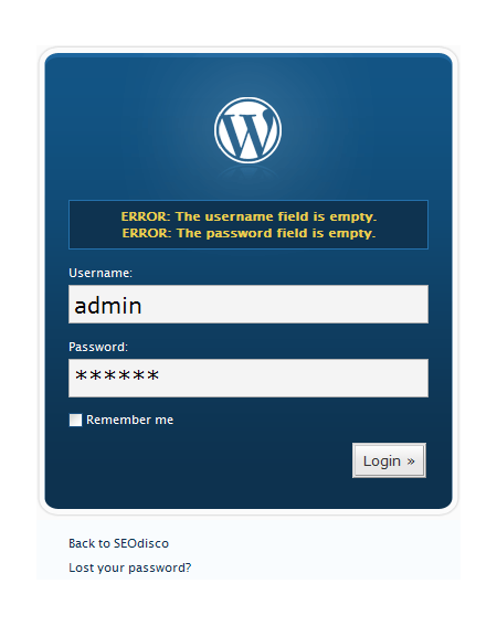 SEOdisco WordPress 2.3 Login Page